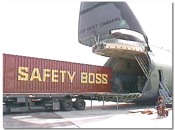 US Air force C5 Galaxies arrived in Calgary to airlift equipment and men to Kuwait City during gulf war