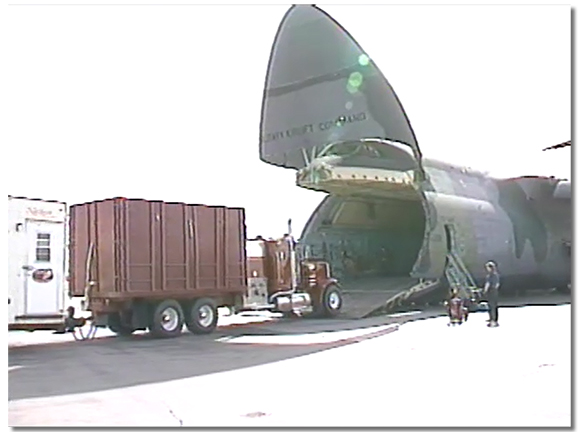 US Air force C5 Galaxies arrived in Calgary to airlift equipment and men to Kuwait City during the gulf war
