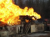 Rig base on fire