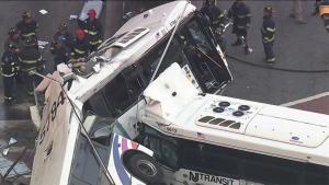 nj transit buses collide close up
