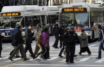 busses at pedestrian crosswalk