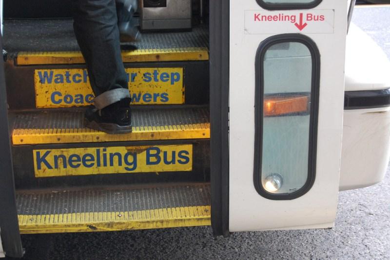 Bus steps closeup