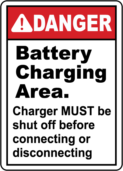 Battery Charging Danger Sign