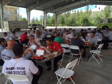 In addition to seven classes during Safety and Health Week, taught to 167 students, Miami-Dade Fire Rescue also held a lunch, sponsored by Holmatro.