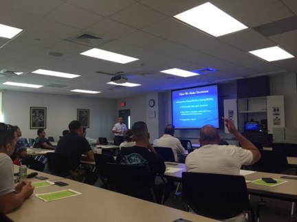Miami-Dade Captain Nick Morgado taught ICS for the First Arriving Company Officer as part of the Safety Stand Down courses.