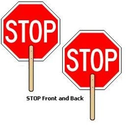2-Sided Hand-Held STOP Sign Paddle - 18X18