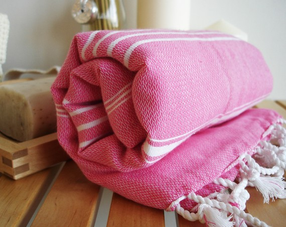 hand made fair trade this fuchsia turkish peshtemal is from bath