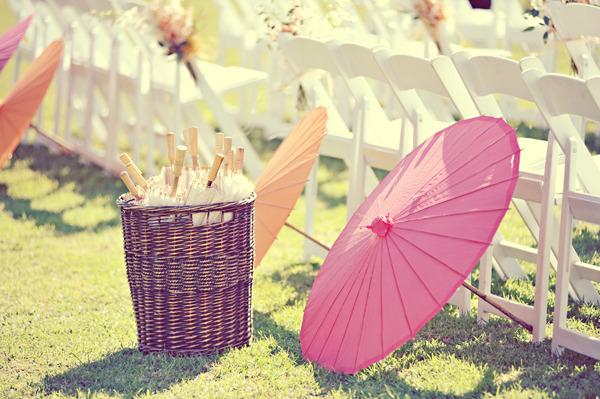 Tropical wedding table settings