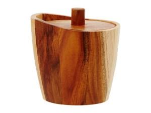 Acacia wood jar