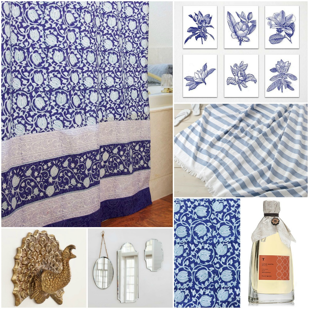 Ideas For An Globally Inspired Blue And White Bath