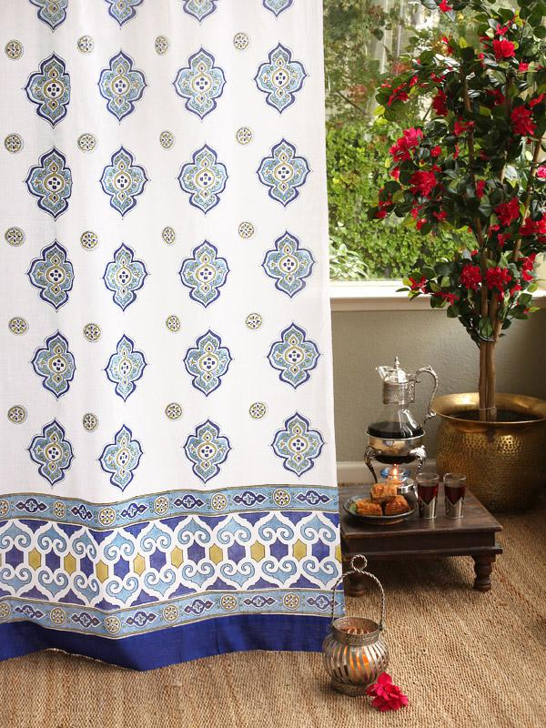 White Curtains With Blue Medallions White And Blue Curtains Moroccan Curtains Saffron Marigold