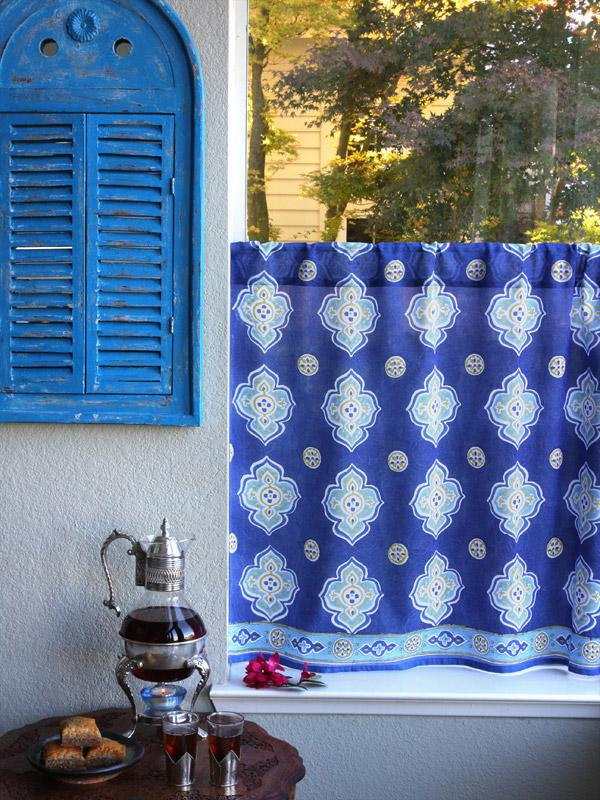 Blue Kitchen Cafe Curtains Moroccan Saffron Marigold