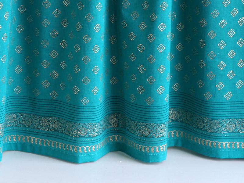 Indian Sari Kitchen Curtain Turquoise Gold Saffron Marigold