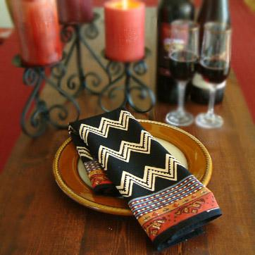 Kilim Noir ~ Black Decorative Printed Party Table Dinner Napkins