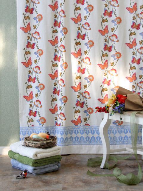 chasing butterflies cotton shower curtain