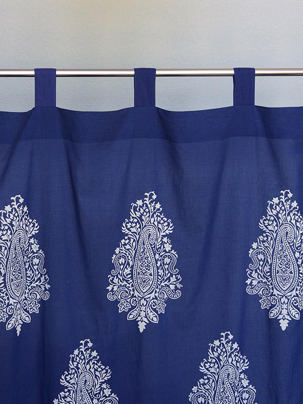Navy Blue Sheer Curtain Panel White Paisley Curtain Panel Modern Curtain Panel Saffron Marigold