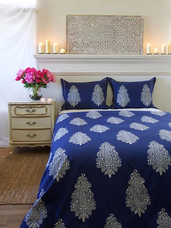 Blue Duvet Cover Modern Paisley Saffron Marigold
