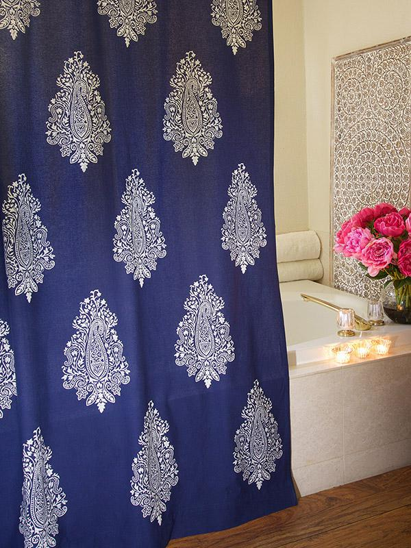 Navy Blue Shower Curtain White Paisley Print Shower Curtain Modern Shower Curtain Saffron