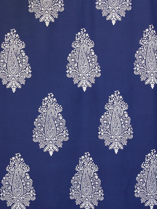 Navy Blue Fabric Swatch Paisley White Printed Saffron Marigold