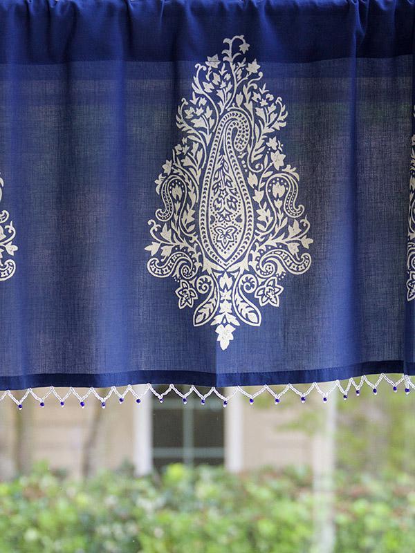 Navy Blue Beaded Window Valance White Paisley Window Treatment Modern Sheeer Window Valance