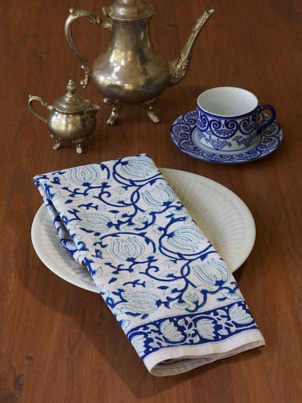 Blue White Cotton Napkins Blue Floral Cloth Napkins White Blue Saffron Marigold