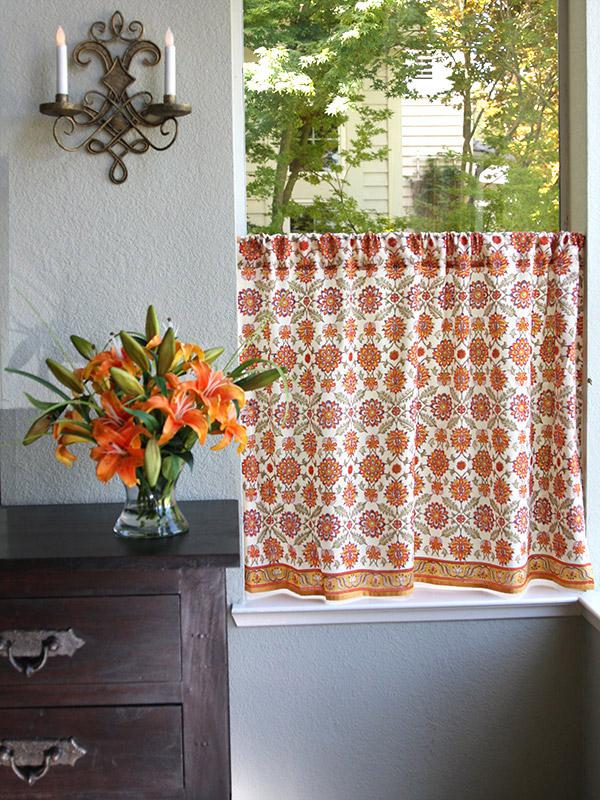 Orange Kitchen Curtain Mediterranean Floral Saffron Marigold