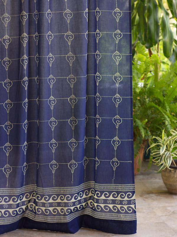 Rustic Navy Blue Curtain Panel Asian Insipired Curtain Oriental Curtain Panel Saffron Marigold