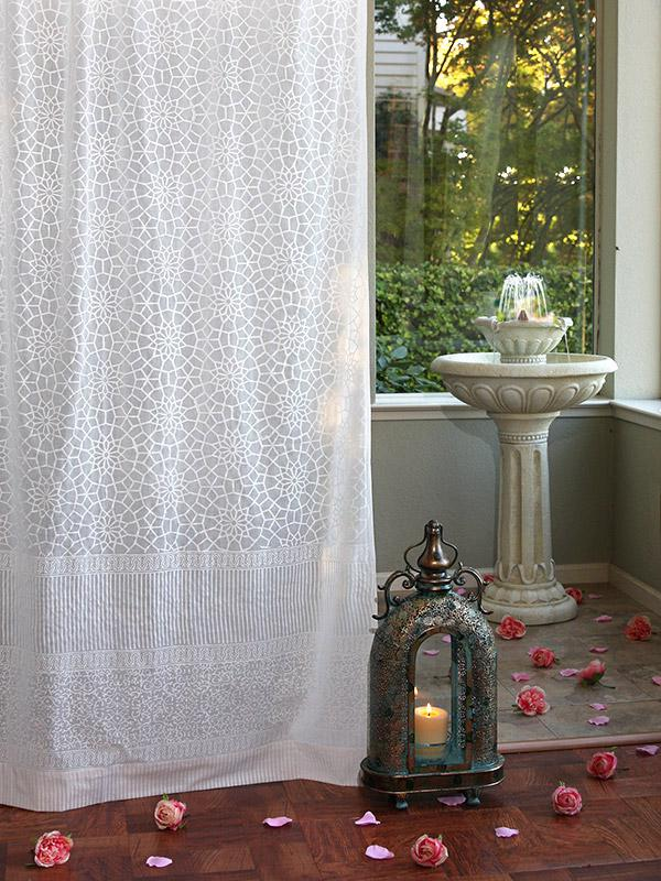 White Sheer Curtains Moroccan Trellis Saffron Marigold