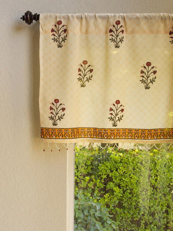 India Red Floral Sheer Beaded Window Valance Kitchen Bathroom Saffron Marigold