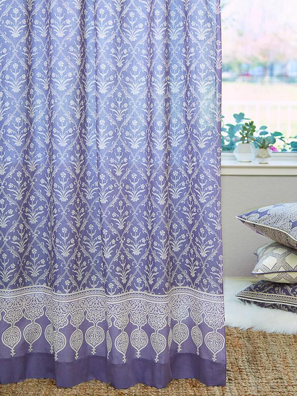 Purple Curtain Panel Floral Boho Lavendar Saffron Marigold