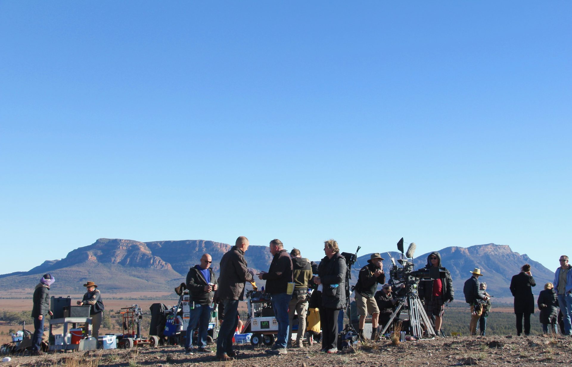 Crew on location in the Flinders for Wanted, photo credit Tom Hoffie