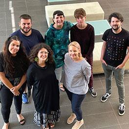 Film Lab New Voices 2021 - back row Pete Ninos, Lucy Campbell, Bettina Hamilton, and Matt Vesely - Front row Georgia Humphries, Madeleine Parry, Peta Bulsara (Astbury)