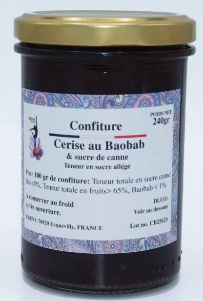 Confiture allégée cerise, baobab & sucre de canne bio