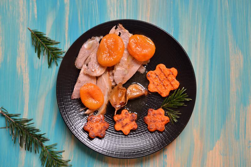 Agneau Rôti, Patates Douces Étoilées & Abricots