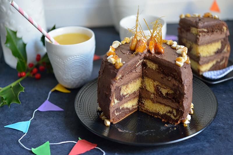 Gâteau Marbré : Chocolat & Amandes Caramélisées