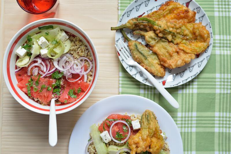 Salade de Quinoa et Beignets aux Fleurs de Courgettes