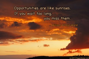 Opportunities Are Like Sunrises