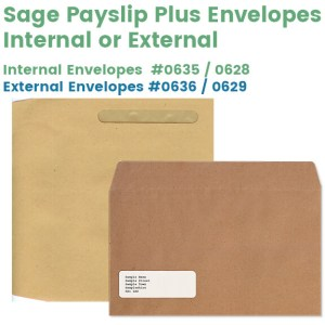 Sage Payslip Plus Envelopes Internal 0628, external 0629