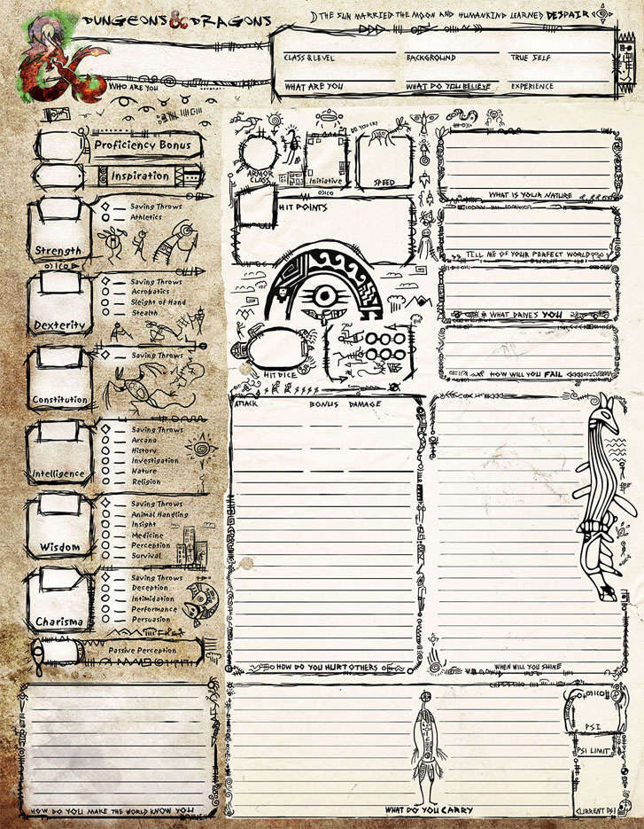 image relating to Printable Dnd Character Sheet identify A Tomb of Annihilation Temperament Sheet Sage Tips DD