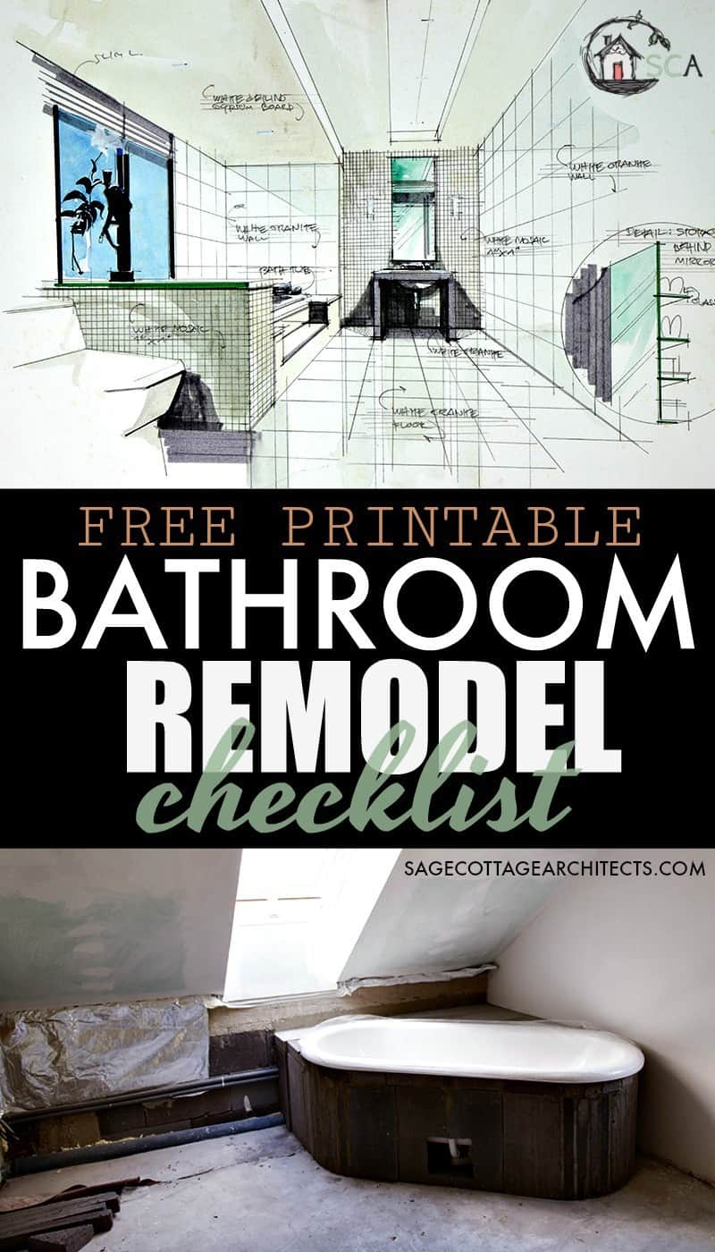 photo collage with the text free printable bathroom remodel checklist written on it