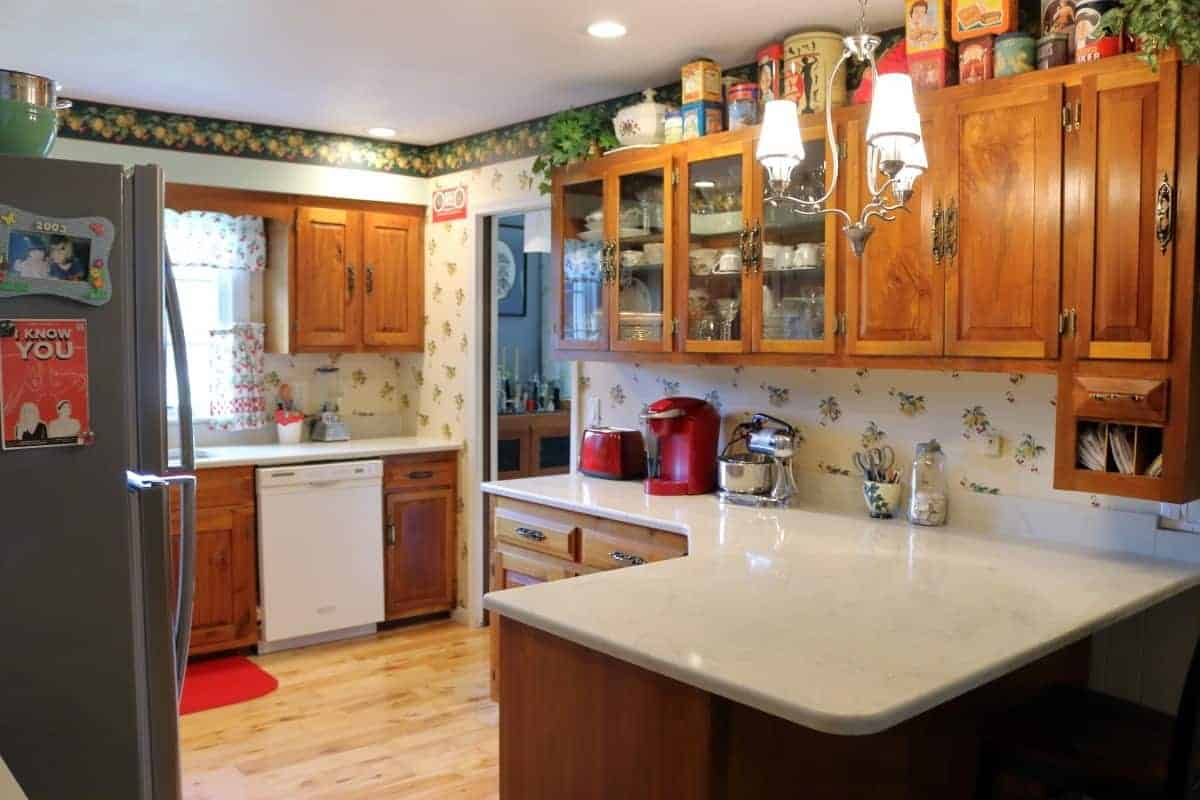 Retro kitchen remodel with white quartz countertops