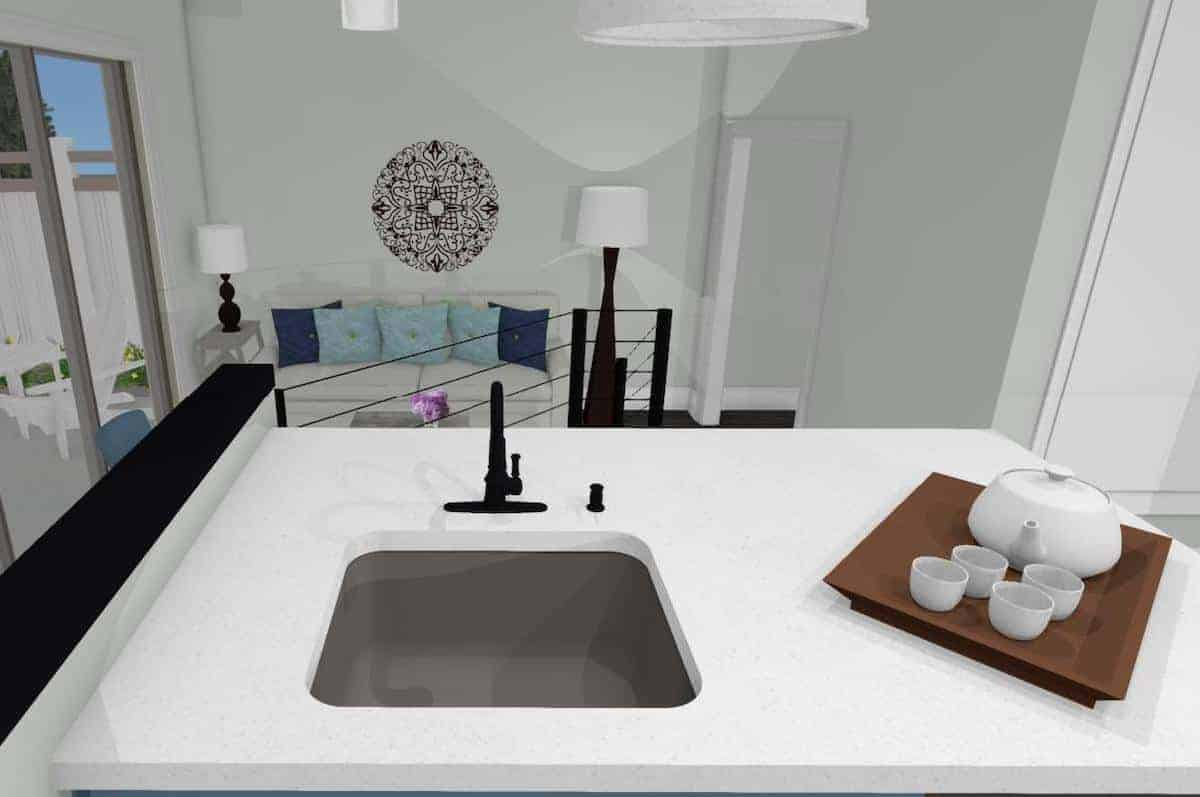 Interior drawing of white kitchen counter in an open floor plan garage conversion.