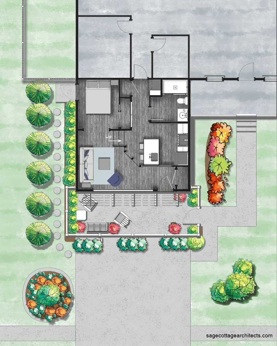 Colored site plan of a garage conversion apartment.