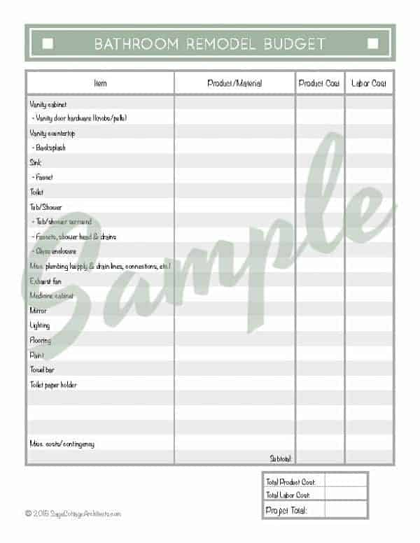 Average Cost of a Bathroom Remodel - Free Budgeting Printable 6