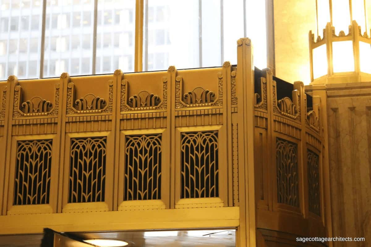 Bronze Art Deco interior canopy in the lobby of the Carbide and Carbon Building.
