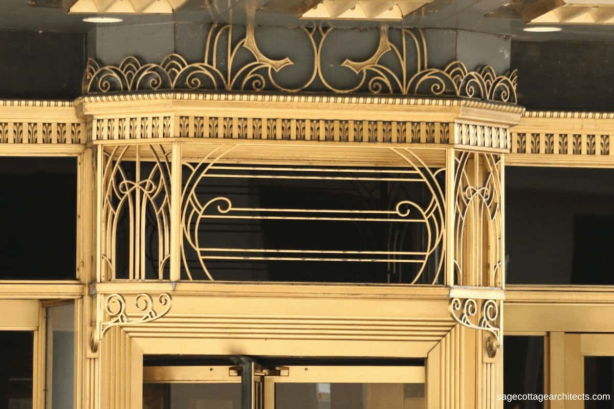 Bronze Art Deco ornamentation on black panels at the entrance canopy of the Carbide and Carbon Building.