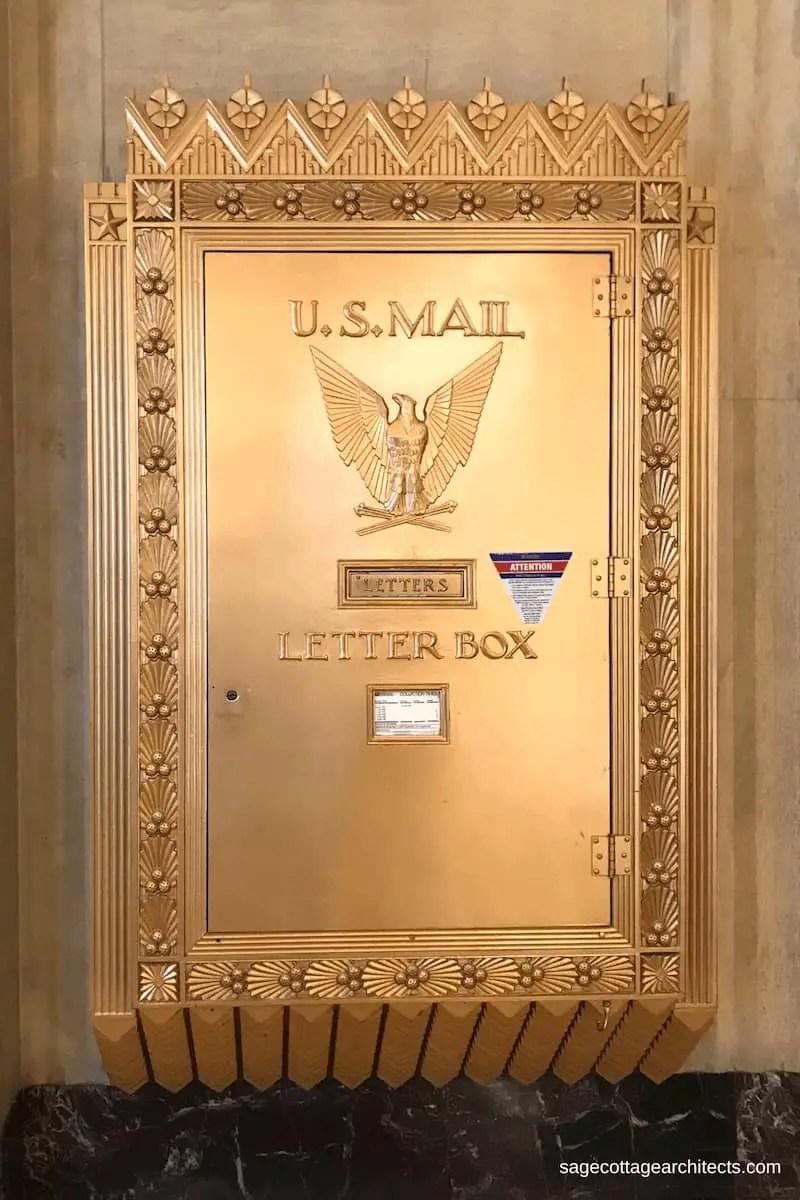 Very large Art Deco bronze letter box.