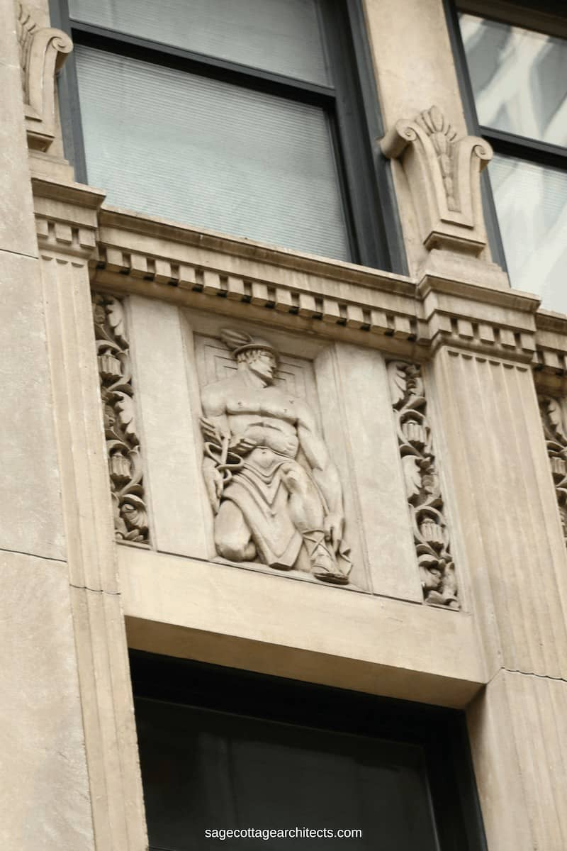 Art Deco carved limestone panel of Hermes