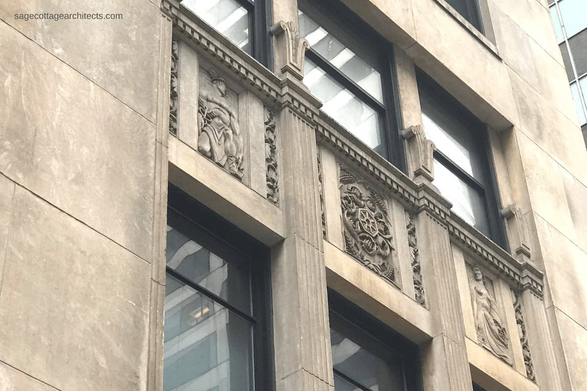 Art Deco limestone panels carved with mythological figures of Hermes and Demeter