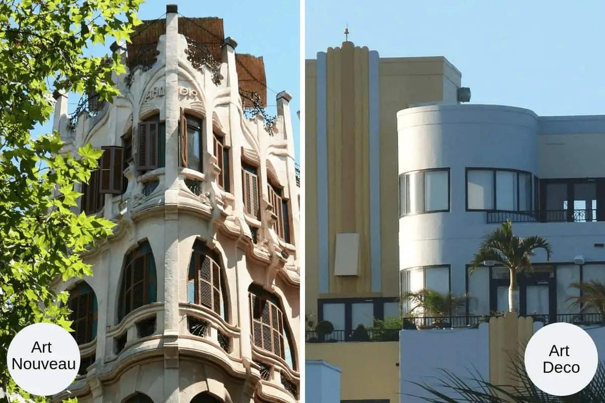 Collage of Art Nouveau apartment building next to Art Deco apartment building.